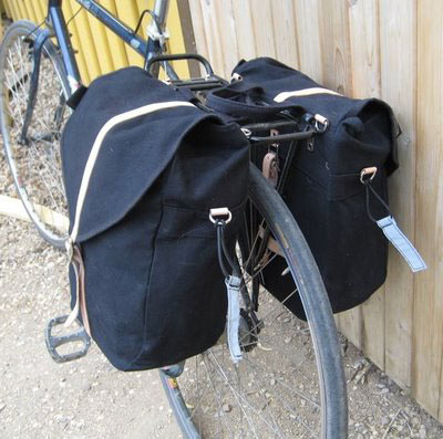 close up of rear bike panniers for commuting