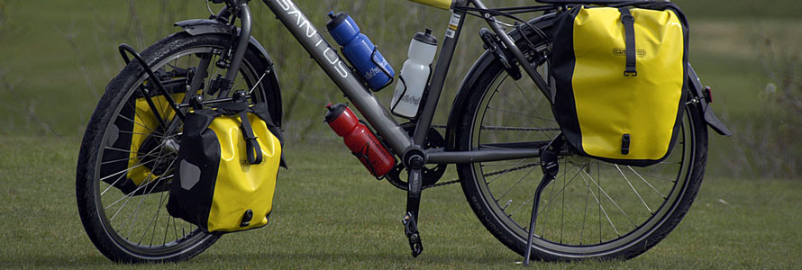 bike outfitted with panniers for touring